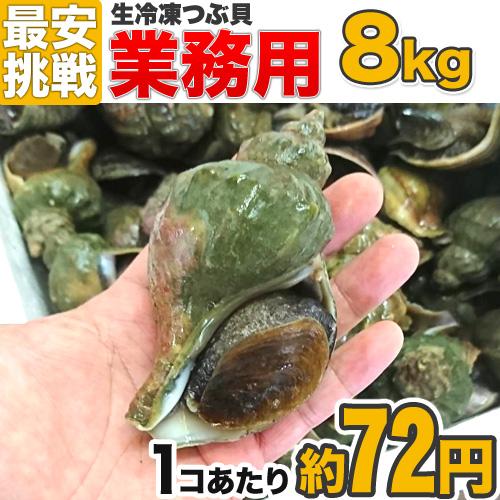 【業務用】 生冷凍 つぶ貝 8kg (64コ~96前後)