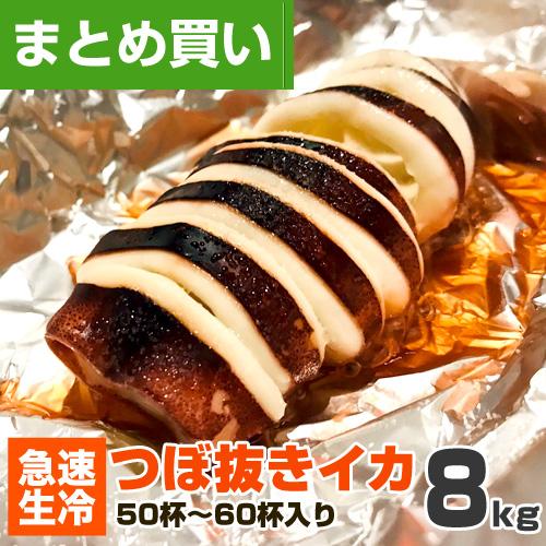 【まとめ買い】つぼぬきイカ 8kg 50~60杯