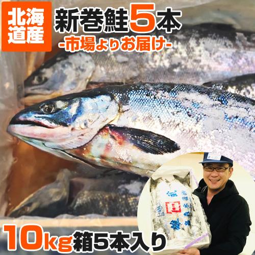 【業務用】北海道産 新巻鮭 10kg箱 5尾セット