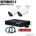 防犯カメラセット・監視カメラセット【セット5M421-2】 5MP画質AHDカメラ2台と4chデジタルレコーダーセット(2TB内蔵)