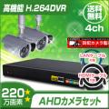 防犯カメラセット・監視カメラセット【セット849-AHD-2】屋外赤外線暗視防雨 AHDカメラ2台と8chデジタルレコーダーセット