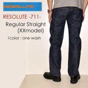 "RESOLUTE リゾルト、""711""、XXモデル 28~40inc [ルーズストレート][ライトオンス] [ヴィンテージ系色落ち]"