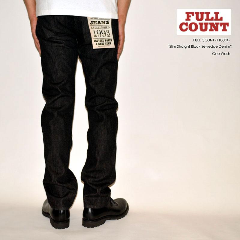 "FULL COUNT フルカウント ""1108BK"" スリムストレートブラックセルビッチデニム [タイトストレート] [ライトオンス] [ヴィンテージ系色落ち]"