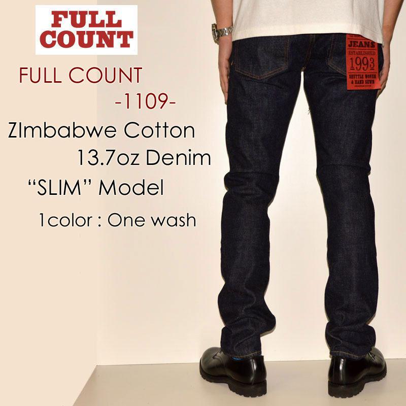 """FULLCOUNT フルカウント、""""1109""""、SLIM MODEL 初回生産限定スリムモデル [タイトストレート] [ライトオンス] [ヴィンテージ系色落ち]"""