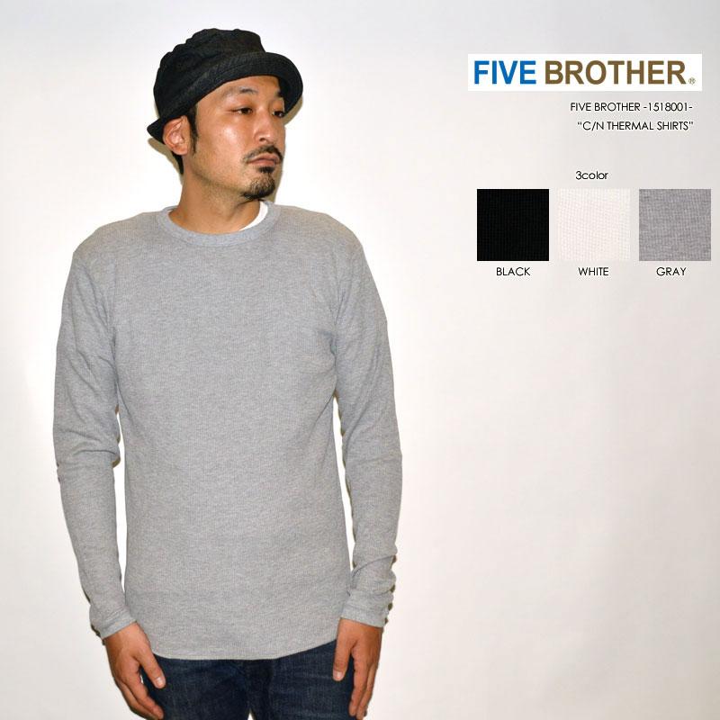 """FIVE BROTHER ファイブブラザー、""""1518001""""、クルーネックサーマルシャツ [L/STee]"""