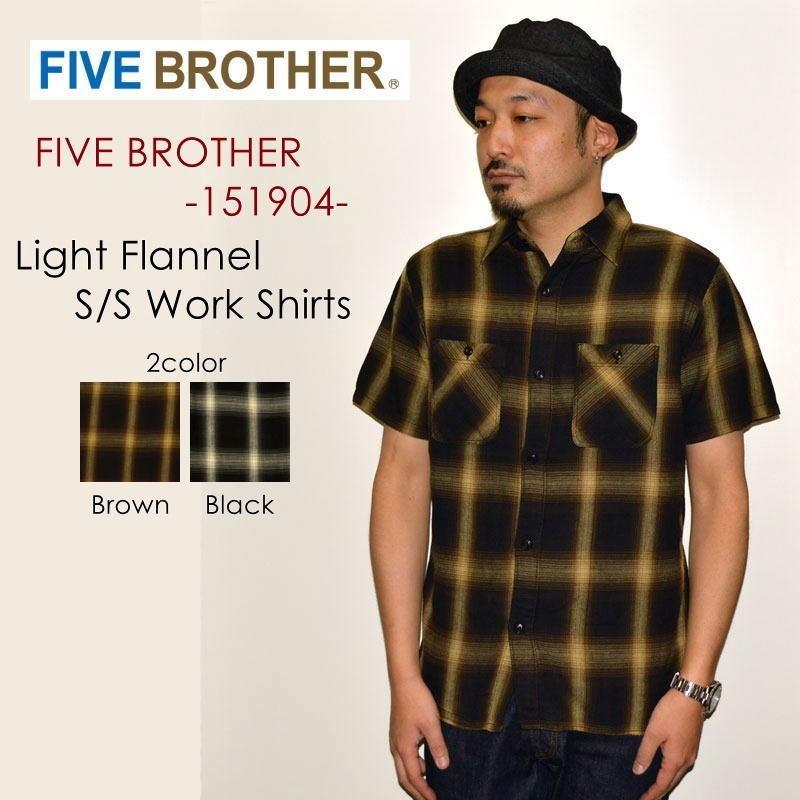 """FIVE BROTHER ファイブブラザー、""""151904""""、ライトネルS/Sワークシャツ [S/Sシャツ]"""