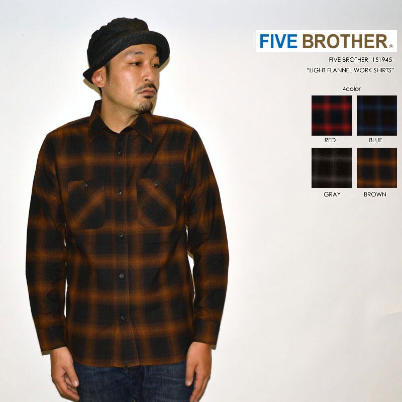 """FIVE BROTHER ファイブブラザー、""""151945""""、ライトフランネルワークシャツ [L/Sシャツ]"""