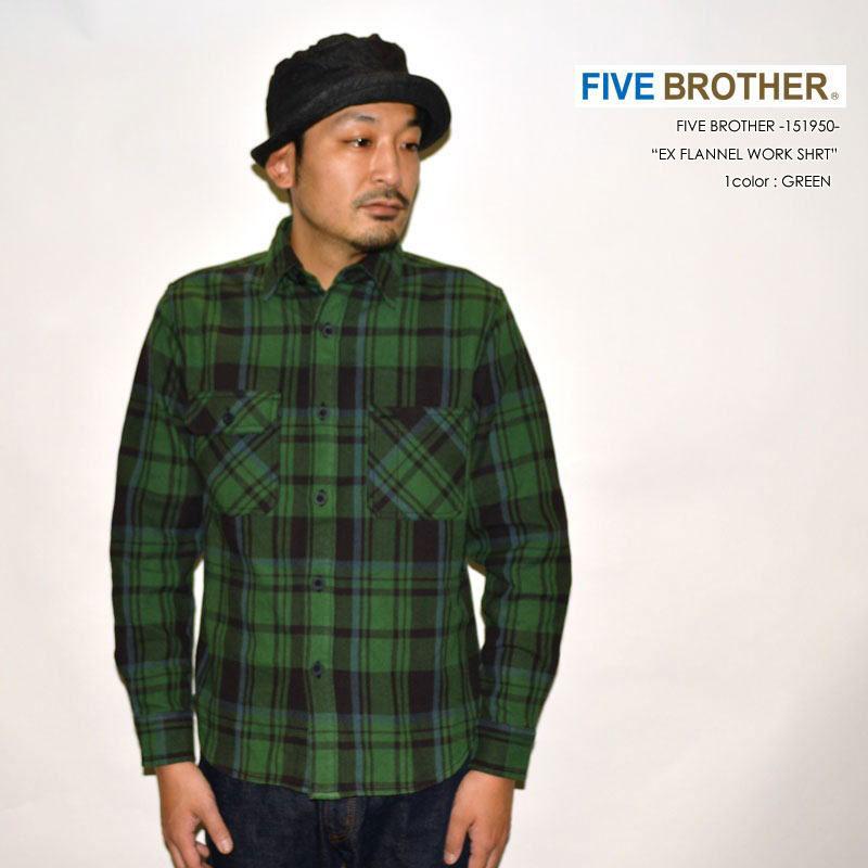 """FIVE BROTHER ファイブブラザー、""""151950""""、エクストラヘビーフランネルワークシャツ [L/Sシャツ]"""