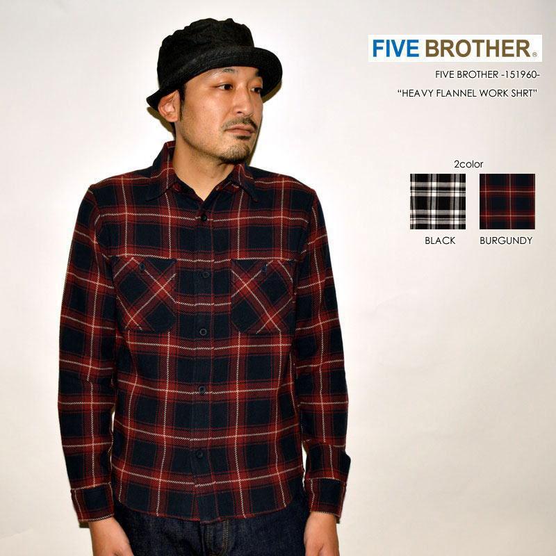 """FIVE BROTHER ファイブブラザー、""""151960""""、ヘビーフランネルワークシャツ [L/Sシャツ]"""