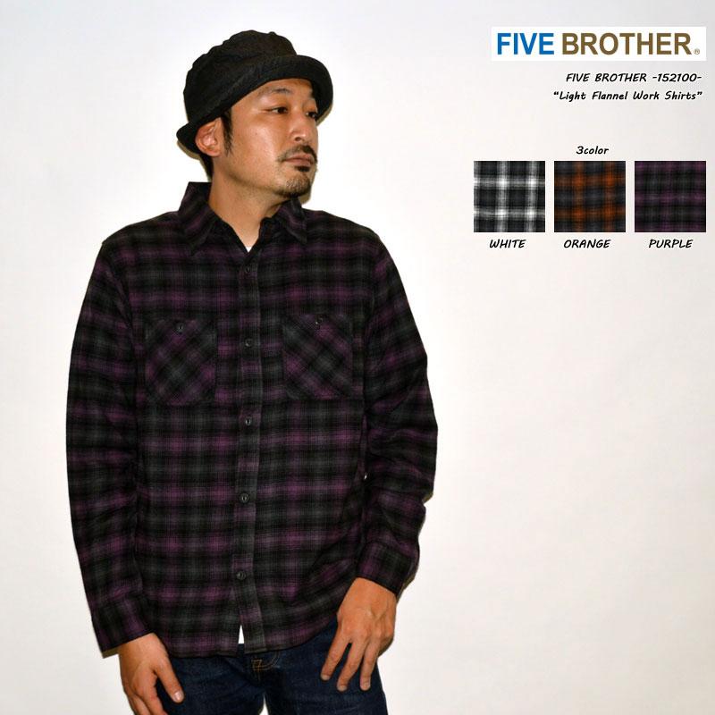 "FIVE BROTHER ファイブブラザー ""152100"" ライトフランネルワークシャツ ネルシャツ オンブレシャツ チェック [L/Sシャツ]"
