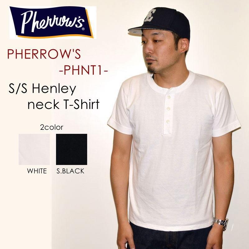 """PHERROW'S フェローズ、""""PHNT1""""、S/S ヘンリーネックTシャツ、無地 Tシャツ 無地Tシャツ ヘンリーネック [S/STee]"""