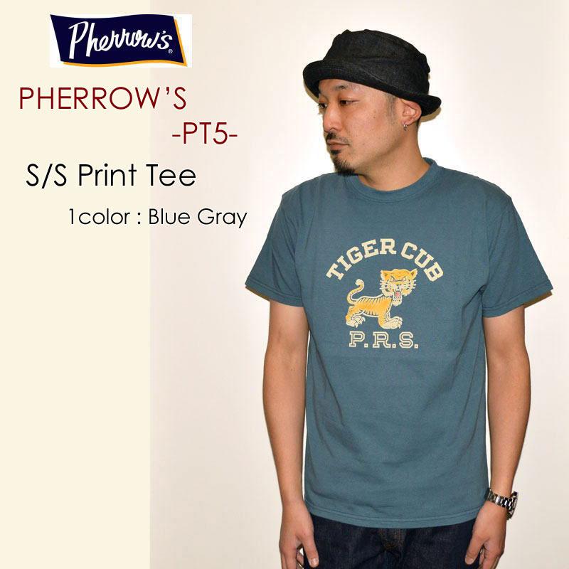 "PHERROW'S フェローズ、""PT5""、TIGER CLUB S/SプリントTee [S/STee]"