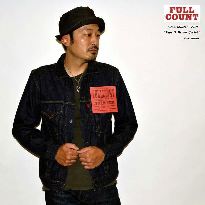 """FULLCOUNT フルカウント、""""2101""""、DENIM JACKET NO PLEATS 3rd MODEL、デニムジャケットノープリーツ3rdモデル [アウター][Gジャン][3rdモデル]"""