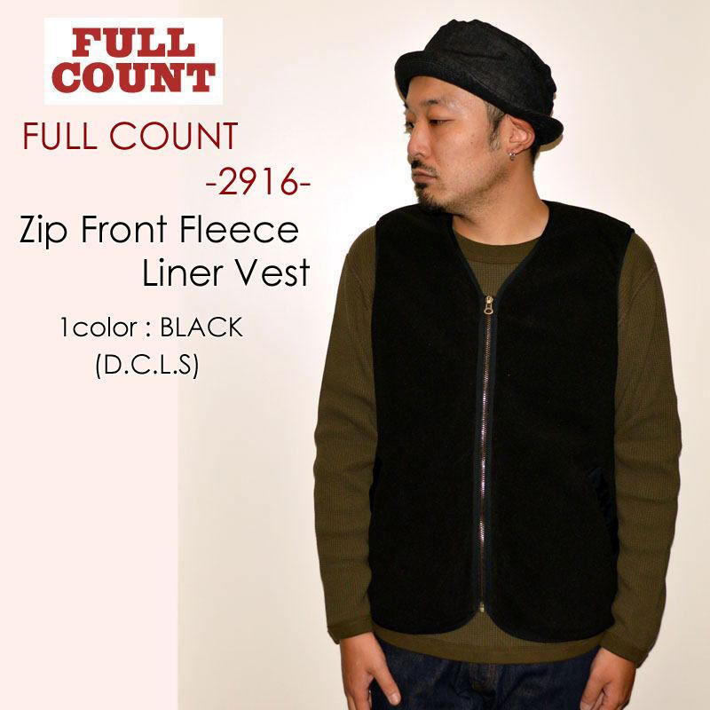 """FULLCOUNT フルカウント、""""2916""""、Zip Front Fleece Liner Vest (D.C.L.S)、ジップフロントフリースライナーベスト [アウター]"""