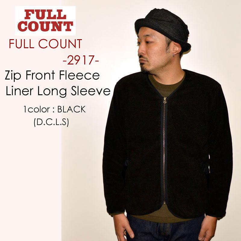 """FULLCOUNT フルカウント、""""2917""""、Zip Front Fleece Liner Long Sleeve (D.C.L.S)、ジップフロントフリースライナーロングスリーブ [アウター]"""