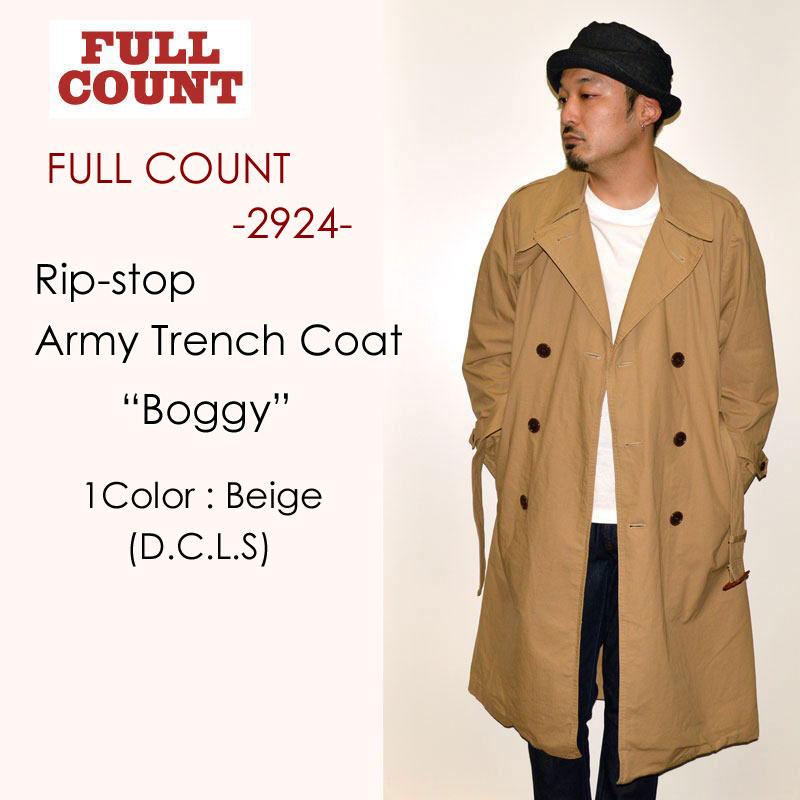 """FULLCOUNT フルカウント、""""2924""""、Rip-stop Army Trench Coat """"Boggy"""" (D.C.L.S)、リップストップアーミートレンチコート [アウター]"""