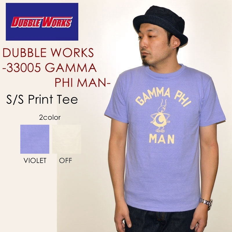 "SALE!! \4,536-⇒\3,629-!! 20%OFFセール!! DUBBLE WORKS ダブルワークス、""33005 GAMMA PHI MAN""、プリントS/STee [S/STee]"