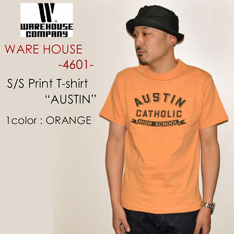 "WAREHOUSE ウエアハウス、""4601 AUSTIN""、プリントS/STee [S/STee]"