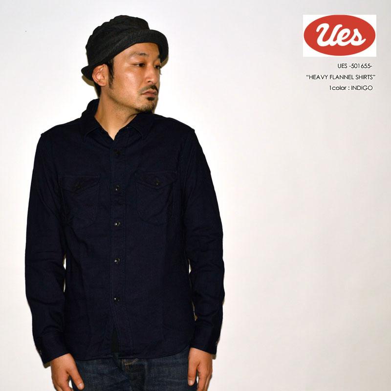 """UES ウエス """"501655"""" インディゴヘビーネルシャツ [L/Sシャツ]"""
