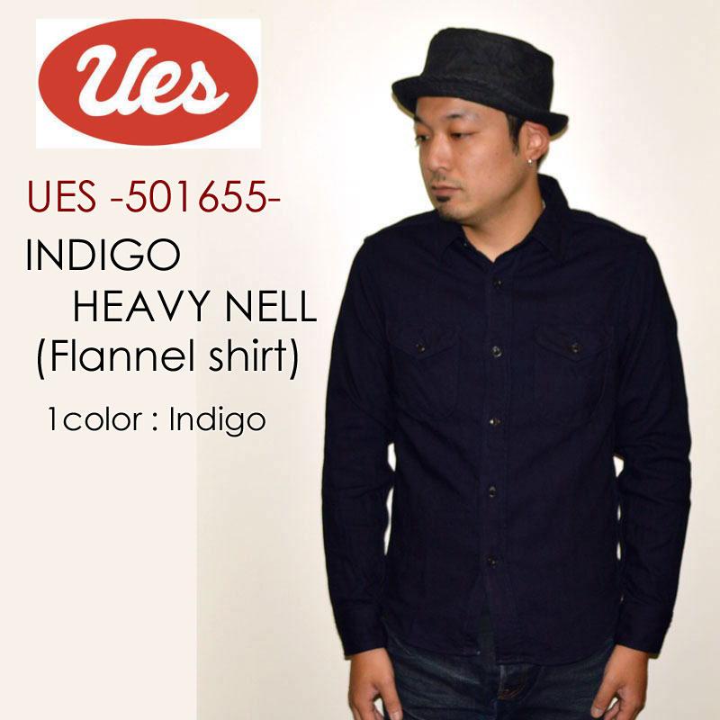 """UES ウエス、""""501655""""、インディゴヘビーネルシャツ [L/Sシャツ]"""