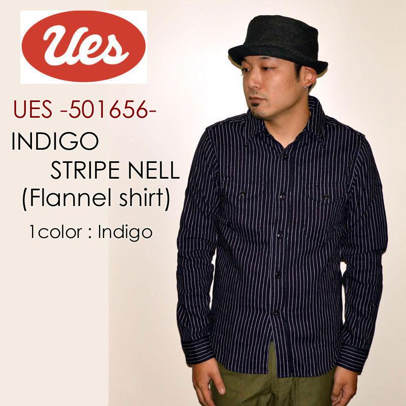 """※ご予約ページ 9月入荷予定※UES ウエス、""""501656""""、インディゴストライプネルシャツ [L/Sシャツ]"""