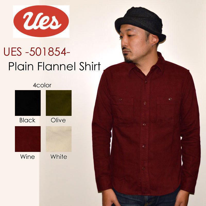 "UES ウエス、""501854""、無地ネルシャツ [L/Sシャツ]"