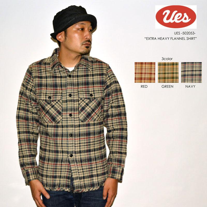 """UES ウエス """"502053"""" エクストラヘビーネルシャツ [L/Sシャツ]"""