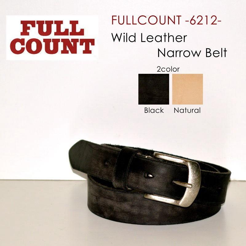 """FULLCOUNT フルカウント FULL COUNT、""""6212""""、ワイルドレザーナローベルト [ベルト]"""