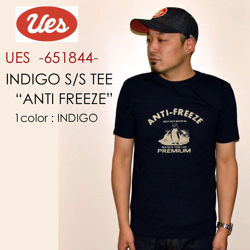 "UES ウエス、""651844""、ANTI FREEZE インディゴ Tシャツ [S/STee]"