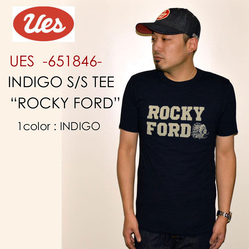 """UES ウエス、""""651846""""、ROCKY FORD インディゴ Tシャツ [S/STee]"""