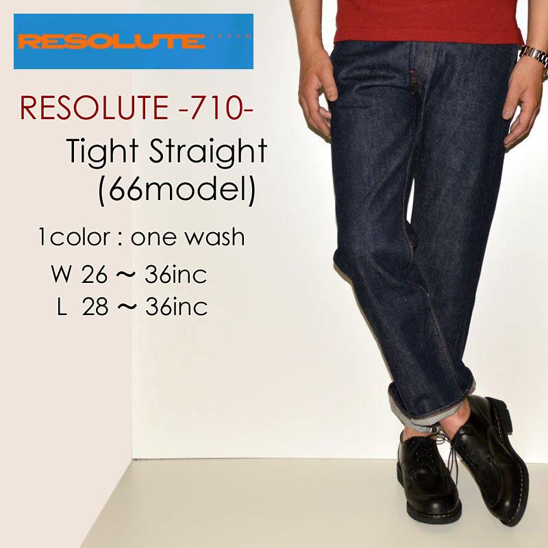 "RESOLUTE リゾルト、""710""、66type 26~36inc[タイトストレート][ライトオンス] [ヴィンテージ系色落ち]"