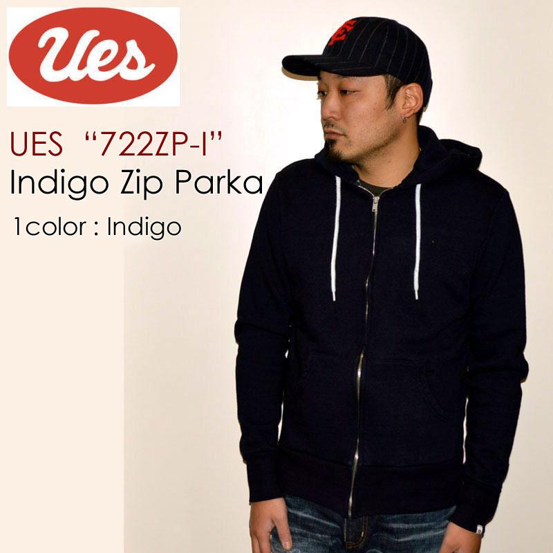 """UES ウエス、""""72ZP-I""""、インディゴジップパーカ [スウェット]"""