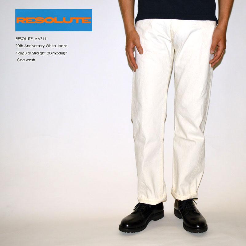 "RESOLUTE リゾルト ""AA711"" 10周年記念ホワイトジーンズ XXモデル 28~40inc [ルーズストレート][ライトオンス] [ヴィンテージ系色落ち]"