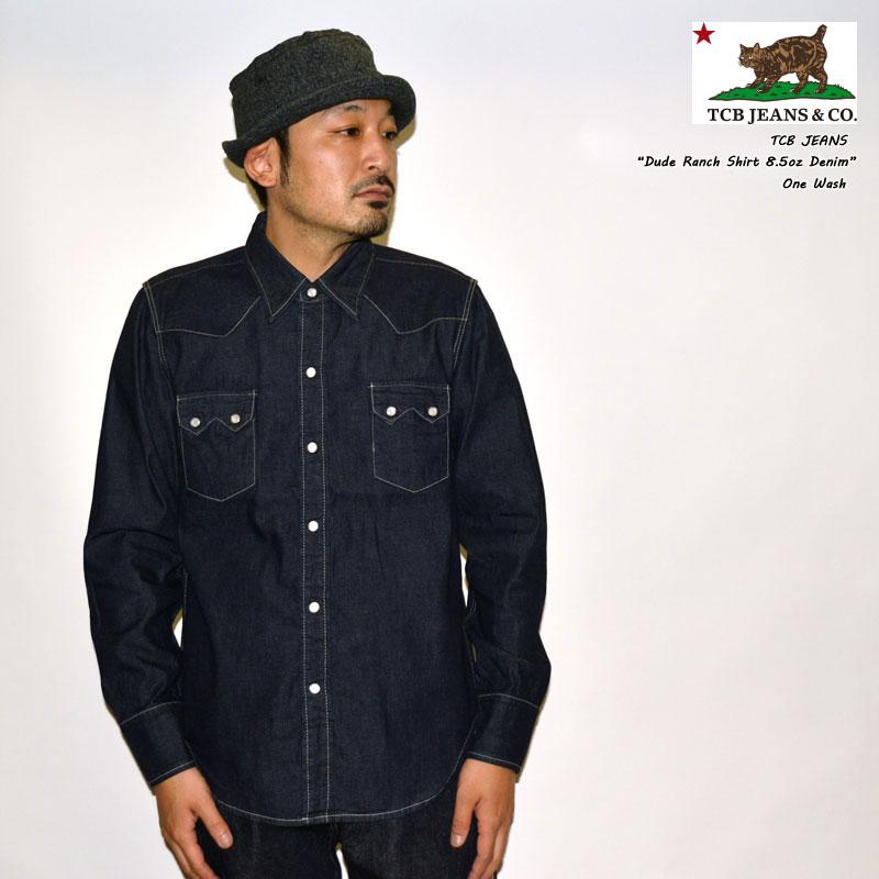 "TCB jeans ""Dude Ranch Shirt 8.5oz Denim"" デュードランチシャツ 8.5ozデニムシャツ ウエスタンシャツ [L/Sシャツ]"