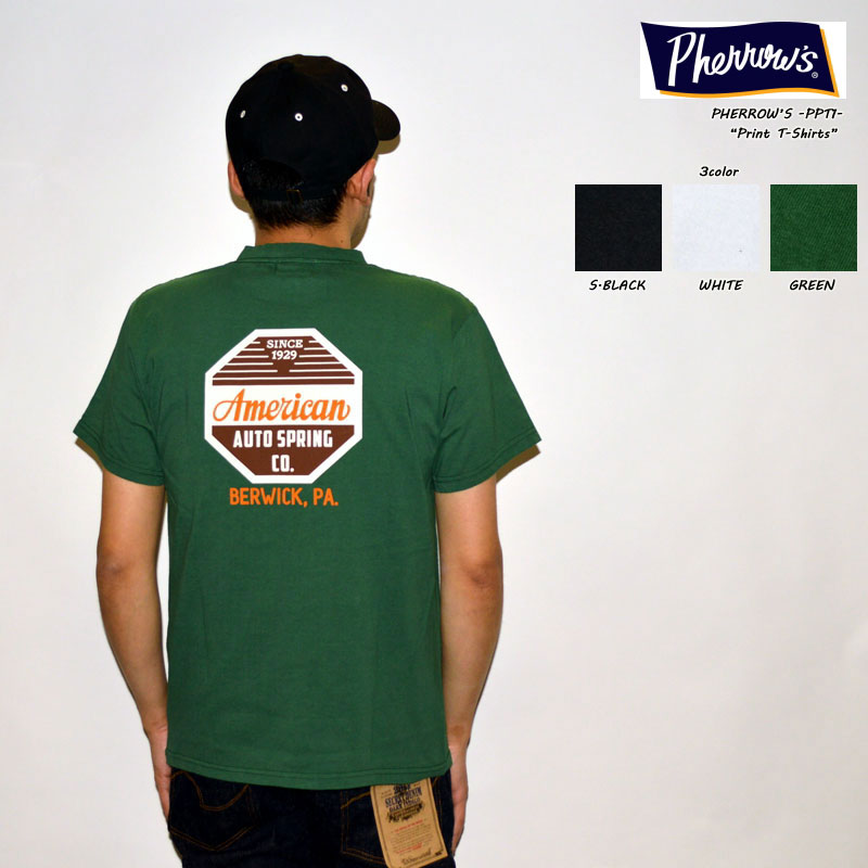 "PHERROW'S フェローズ、""21S-PPT1""、AAS Co. ポケット付きロゴプリントTシャツ [S/STee]"