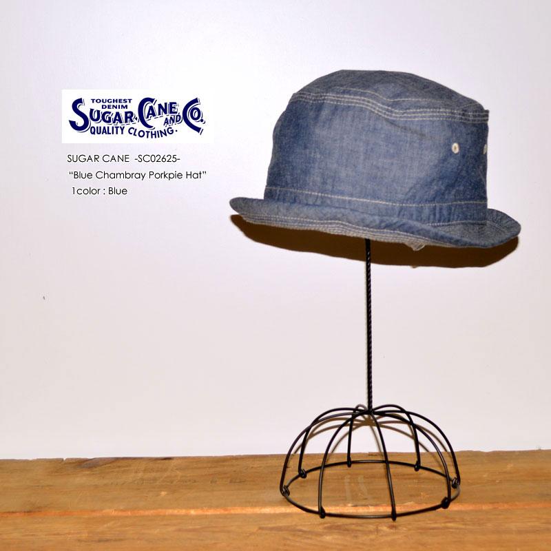 """東洋エンタープライズ、SUGAR CANE シュガーケーン、""""SC02628""""、ブルーシャンブレーポークパイハット [小物][帽子]"""