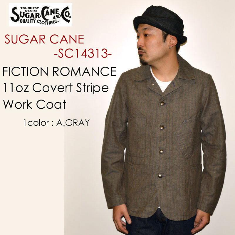 """SUGAR CANE シュガーケーン、""""SC14313""""、FICTION ROMANCE 11oz.コバートストライプワークコート [アウター]"""