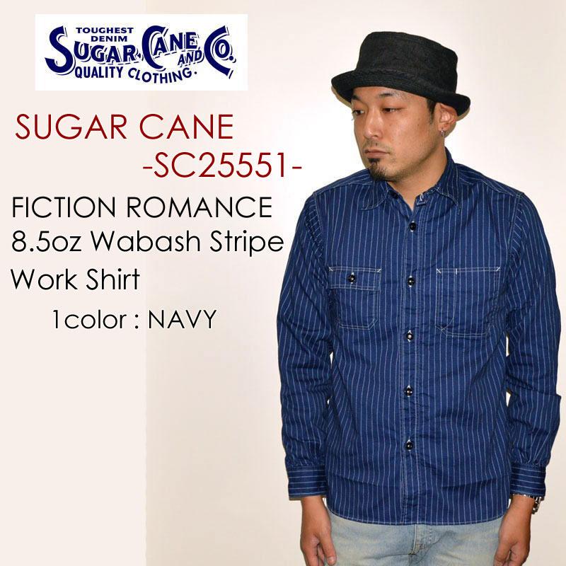 """東洋エンタープライズ SUGAR CANE シュガーケーン、""""SC25551""""、8.5ozウォバッシュストライプシャツ<br>[L/Sシャツ]"""