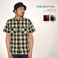 """FIVE BROTHER ファイブブラザー、""""152003""""、ライトネルS/Sワークシャツ [S/Sシャツ]"""