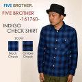 """FIVE BROTHER ファイブブラザー、""""151760""""、インディゴチェックシャツ [L/Sシャツ]"""