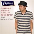 "PHERROW'S フェローズ、""117S-BAKA-VNECK-BORDER""、リップルボーダー バカパイルVネックポケットTシャツ [S/STee]"