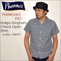 "PHERROW'S フェローズ、""17S-PIS1""、ギンガムチェック オープンカラーシャツ [S/Sシャツ]"