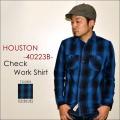 "HOUSTON ヒューストン、""40223B""、チェックネルワークシャツ [L/Sシャツ]"