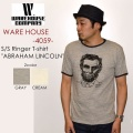 "WAREHOUSE ウエアハウス、""4059 ABRAHAM LINCOLN""、プリントS/SリンガーTee [S/STee]"
