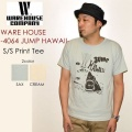 "SALE!! \6,696-⇒\5,357-!! 20%OFFセール!! WAREHOUSE ウエアハウス、""4064 JUMP HAWAII""、プリントS/STee [S/STee]"