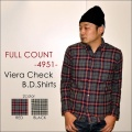 """ネット本店限定価格!! \21,384-⇒\17,107-!!通常価格より20%OFFセール!! FULLCOUNT フルカウント、""""4951""""、VIERA CHECK.B.D.SHIRTS、ビエラチェックボタンダウンシャツ [L/Sシャツ]"""