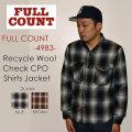 """FULLCOUNT フルカウント、""""4983""""、RECYCLE WOOL CHECK CPO SHIRTS JACKET、リサイクルウールチェックCPOシャツジャケット [L/Sシャツ]"""