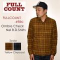 """FULLCOUNT フルカウント、""""4986""""、OMBRE CHECK NEl B.D.SHIRTS、オンブレーチェックネルボタンダウンシャツ [L/Sシャツ]"""