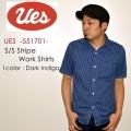 """UES ウエス、""""551701""""、半袖ストライプワークシャツ [S/Sシャツ]"""