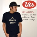 "UES ウエス、""651715""、A HAPPY DAY インディゴTシャツ [S/STee]"